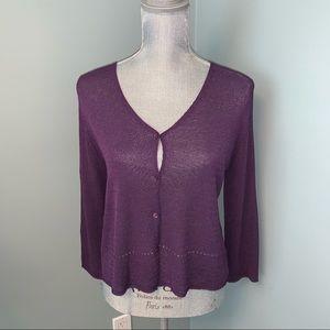 Eileen Fisher purple shrug cardigan petite large
